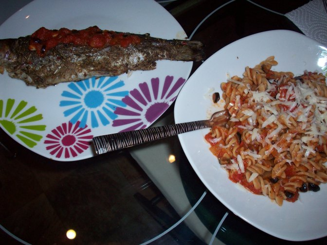 Roasted Trout & Garlicky Pasta (Or My Night In Italia)