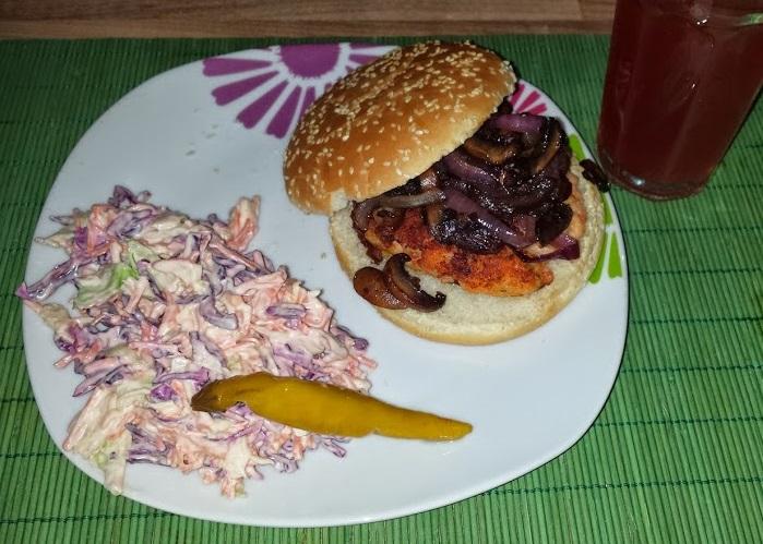 crimini shrimp burger