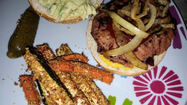 kidney bean burger w veg fries