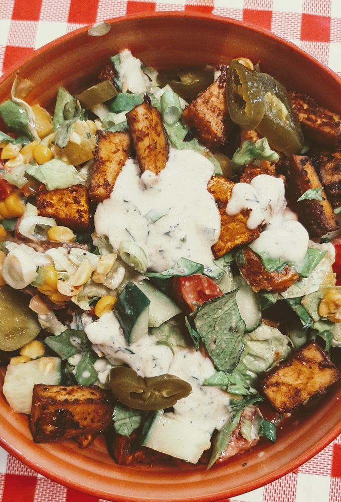 Smoked tofu and corn vegan salad with homemade vegan salad dressing